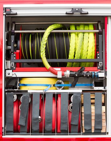 Close-up of equipment in a firetruck in the Netherlands Banque d'images - 130817592