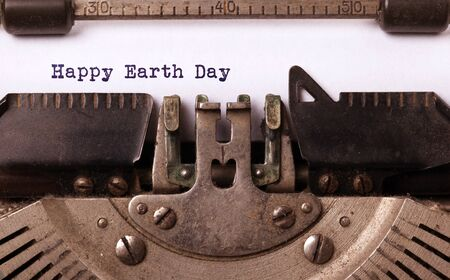 Happy Earth Day, written on an old typewriter, vintage
