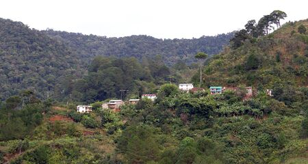 Typical Malagasy landscape, village in the jungle Standard-Bild - 130817642