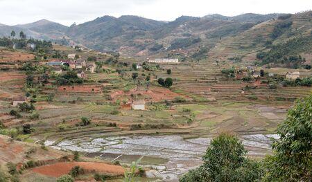 Typical Malagasy landscape, villages and agricultural landscape Standard-Bild - 130817663