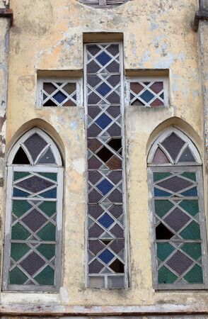 Stained glass window in a church with cross shape, Madagascar