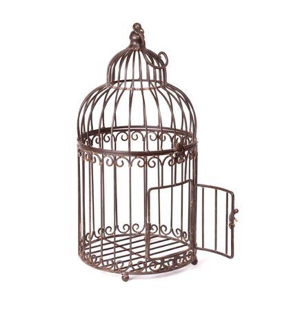 Empty rusty birdcage on white background, isolated