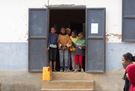 Fianarantsoa, Madagascar on july 29, 2019 - Malagasy primary school. Many children cannot go to school because of poverty.
