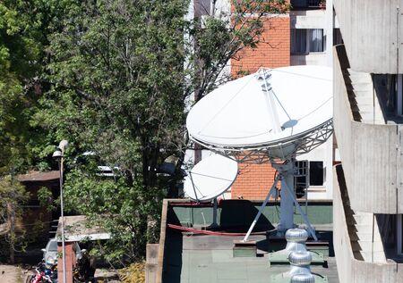 Satelite dish near a  building in the Malagasy capital of Antananarivo, Madagascar Zdjęcie Seryjne