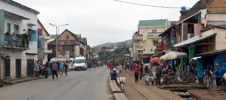 Andasibe, Madagascar on july 25, 2019 - People walking though the city. Editorial