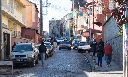Antananarivo, Madagascar - July 23, 2019: Small street during a typical weekday in Antananarivo, Madagascar