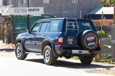Madagascar on july 25, 2019 - A parked black 4x4. These cars are commonly used to transport tourists on Madagascar Редакционное