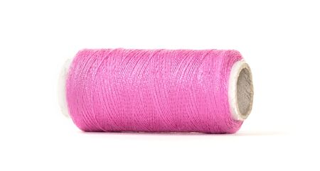 Color sewing thread with needle, isolated on a white background