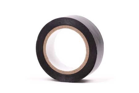 Roll of black insulation tape isolated on white background