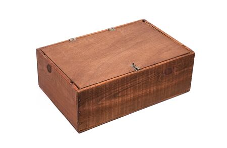 Wooden box for small items isolated on white background Banco de Imagens - 136100913