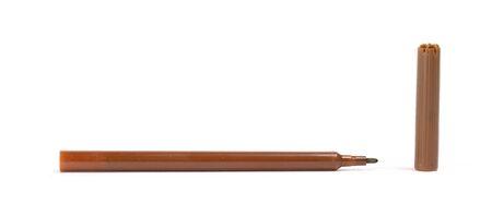 Brown felt-tip pen isolated on white background