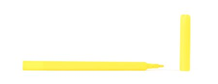 Yellow felt-tip pen isolated on white background Imagens