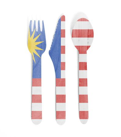 Eco friendly wooden cutlery - Plastic free concept - Isolated - Flag of Malaysia