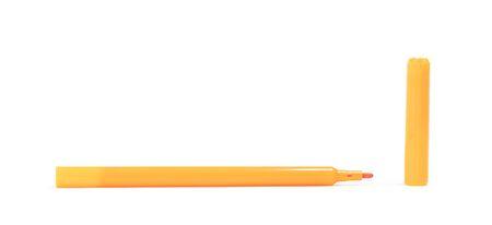 Orange felt-tip pen isolated on white background Imagens