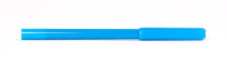 Blue felt-tip pen isolated on white background Imagens