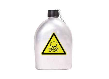Vintage army canteen isolated on a white background - Poison