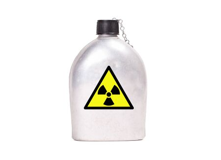 Vintage army canteen isolated on a white background - Radioactive