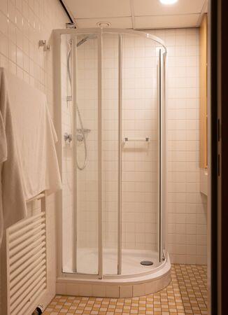 Heated towel rack in an old bathroom, the Netherlands