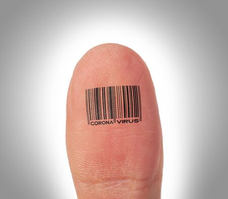 Barcode on a thumb - Isolated on white - Coronavirus Stock Photo