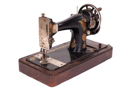 Antique, vintage sewing machine, isolated on white