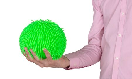 Virus like soft rubber ball isolated on solid background
