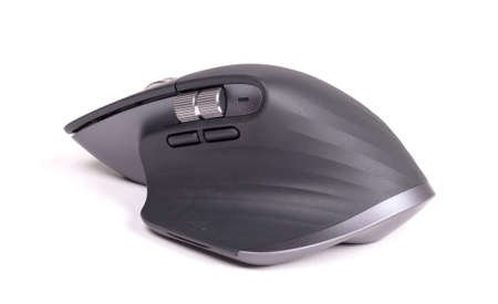 Close up wireless computer mouse, modern design, isolated on white