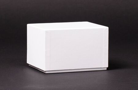 Blank White box isolated on a black background