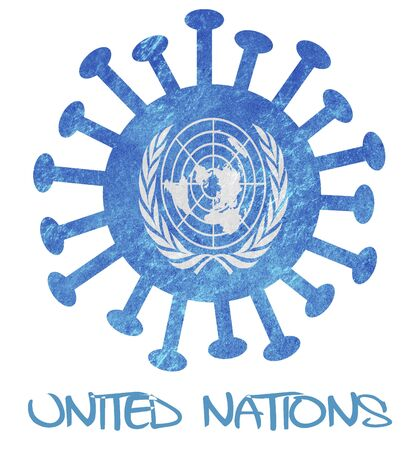 The flag of the United Nations with corona virus or bacteria - Isolated on white Stock Photo