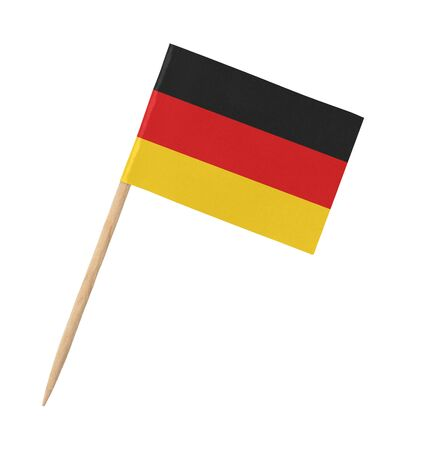 Small paper German flag on wooden stick, isolated on white