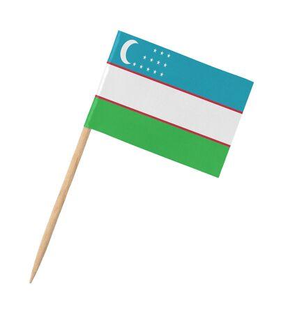 Small paper Uzbekistan flag on wooden stick, isolated on white