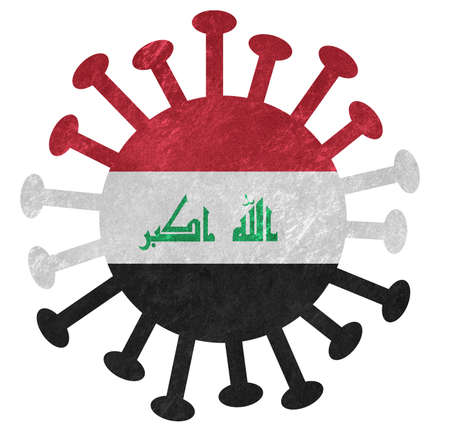 The national flag of Iraq with corona virus or bacteria - Isolated on white