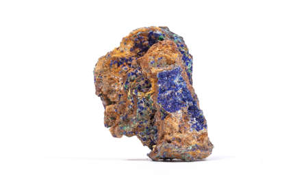 Malachite - Azurite mineral stone, on white background