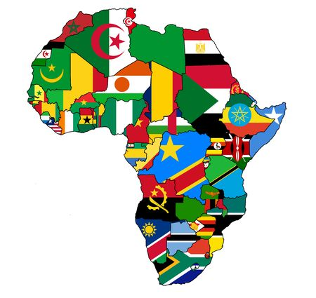 africa political map with flags photo