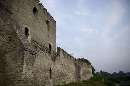medieval city walls with grass and blue sky Stock Photo - 5703143