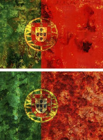 some very old grunge flag of portugal photo