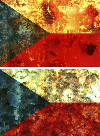 some very old grunge flag of czech republic photo