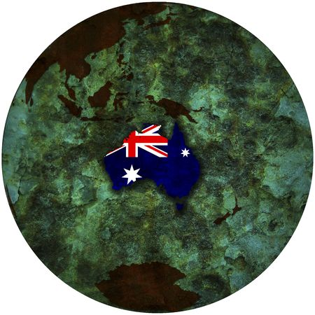3d view from space on southern hemisphere with australia flag Stock Photo - 6149448