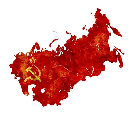 gorbachev: some very old grunge flag  and territory of ussr Stock Photo