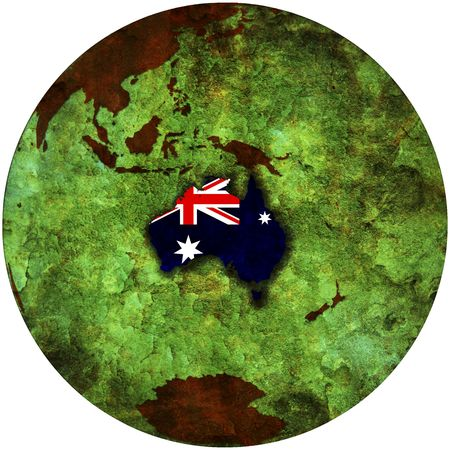 3d view from space on southern hemisphere with australia flag Stock Photo - 6149332