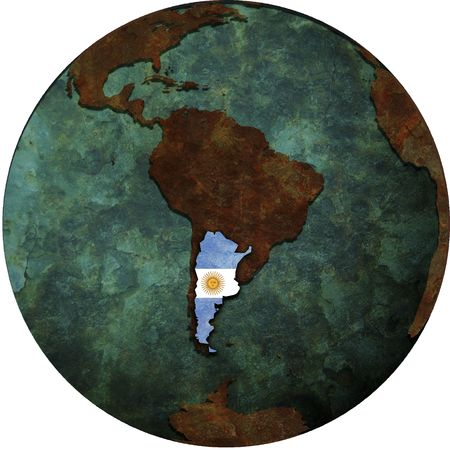 argentina flag on map of earth globe Stock Photo - 6149324