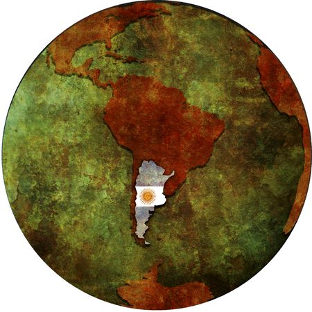 argentina flag on map of earth globe photo