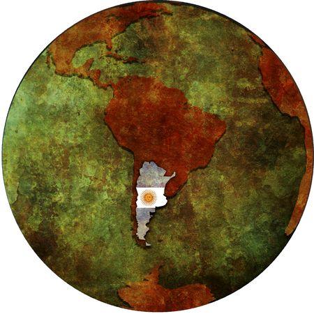 flag of argentina: Bandera de Argentina en el mapa del planeta tierra