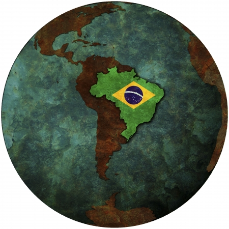 brazil flag on map of earth globe