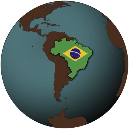 south space: brazil flag on map of earth globe