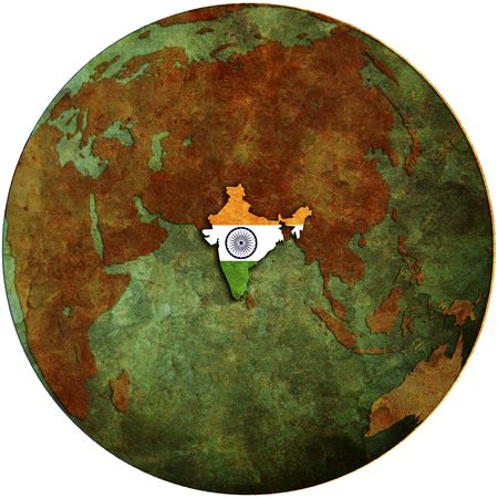 maps globes and flags: india flag on map of earth globe
