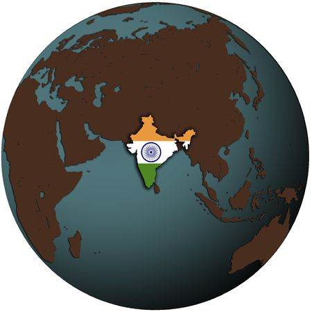 map of india: india flag on map of earth globe