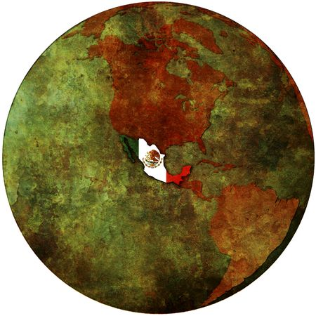territories: mexico flag on map of earth globe