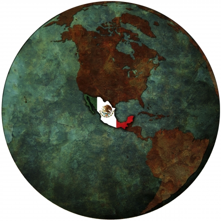 nafta: mexico flag on map of earth globe