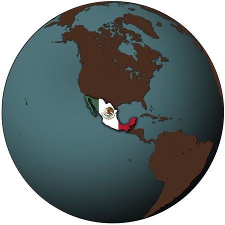 mexico flag on map of earth globe photo