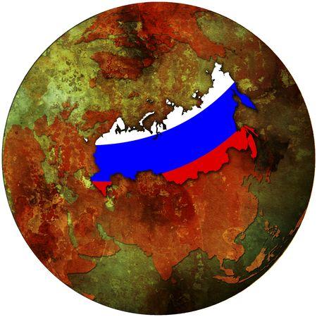 russia flag on map of earth globe photo
